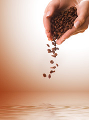 Hands with coffee beans