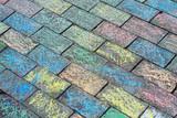 Colored brick walkway poster
