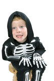 Happy young boy with skeleton costume poster