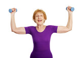 senior woman lifting freeweights  poster