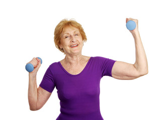 senior woman lifts freeweights