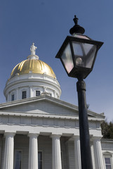 The gold topped state capitol building in Montpelier, Vermont