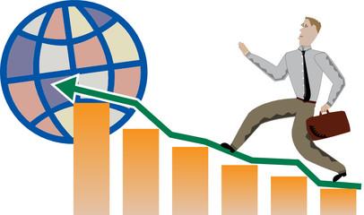 Business man climbing profits chart