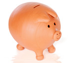 Photo of a moneybox a over white background poster