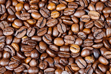 Coffee beans background (focus in the first plane)