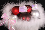 Christmas baubles in fluffy white feathers poster
