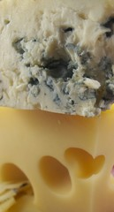 Maasdam Cheese and cheese with mould