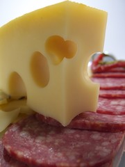 Still life with cheese and sausage