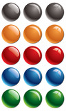 Empty colored glossy buttons poster