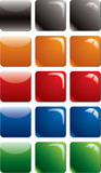 Empty colored rounded square glossy buttons poster