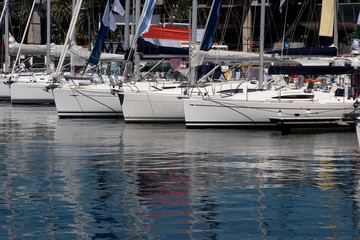 Moored yachts in a marina