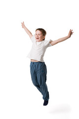 kid jumping on white backgound