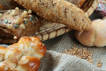 Detail of various breads and wheat