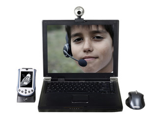 Laptop with a webcam, a PDA and a mouse isolated on white