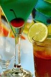 Summer recreational drink with cherry and lemon poster