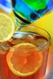 Alcoholic summer recreational drink with lemon poster