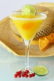 Summer recreational drink  - with of the mango with red currants poster
