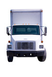 White Delivery Truck Front Isolated poster