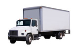 White Delivery Truck isolated poster