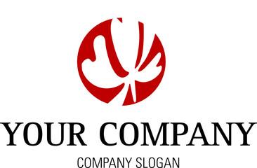 Logo mit Kreis und Blatt