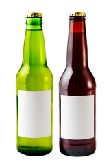 A close up on beer bottles isolated with blank lables.