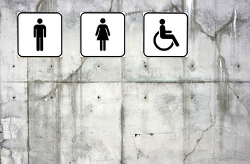 Male, female and disabled toilet signs