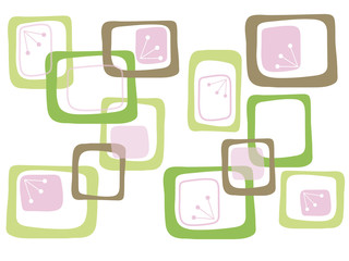 Green Brown Pink Retro Candy Squares