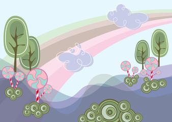 pink lollipops in purple wonderland