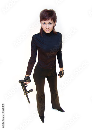 Bodyguard girl. Isolated on white.