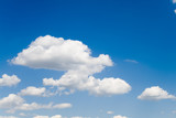 Blue sky with white fluffy clouds 2 (landscape) poster