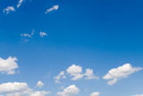 Blue sky with white fluffy clouds 3 (landscape) poster