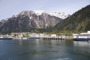 Juneau, Alaska nestled at the base of a Mountain