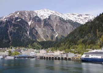Juneau, Alaska at the base of snow-covered mountains