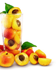 apricots in the glass isolated with vector clipping path