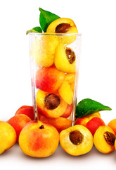 apricots in the glass isolated with vector clipping