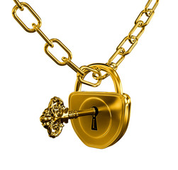 Gold lock with key and chain isolated with vector clipping path