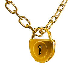 Gold lock with chain 3d model illustration isolated