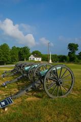Dunker Church and Civil War cannon line at Antietam Battlefield