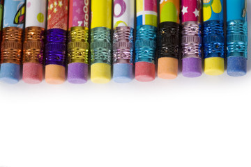 Row of pencils in a border