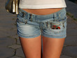 Girl In Blue Jeans Short Shorts. big picture.