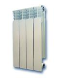 Aluminium radiator. 4 sections. Isolated on white. poster