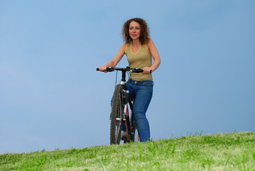 Girl with mountain bike