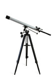 Telescope mounted on a tripod isolated on white poster