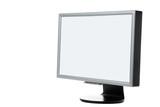 hi technology plasma monitor over white poster