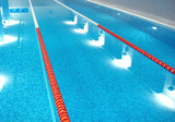 sport swimming pool  with path lanes and blue water  (from left) poster