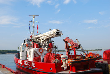 Fire and Rescue Boat in harbour