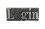 old, inkstained metal type letters form the term 'Login'
