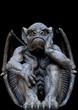 Scary looking Gargoyle sitting inside his wings