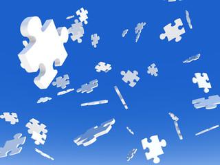 Fallende Puzzlestücke