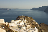 Patios over the caldera on Aegean sea, Santorini, Greece poster